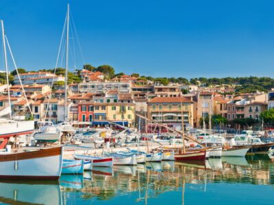 boats in the fishing village of cassis in the south of france
