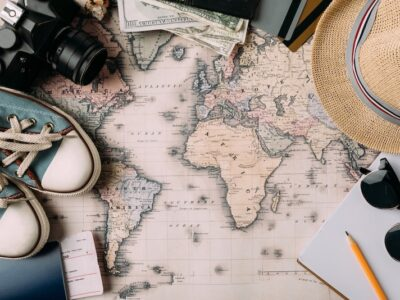 inspirational map with travel accessories