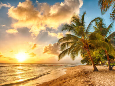 golden sunset in the caribbean